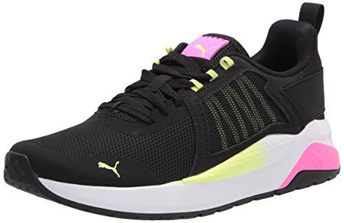 PUMA Women's Anzarun Sneaker, Black-Luminous Pink-Fizzy Yellow, Numeric_5_Point_5