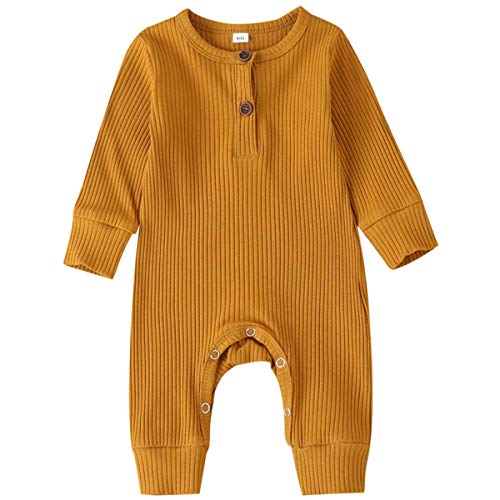 Kuriozud Newborn Infant Unisex Baby Boy Girl Button Solid Romper Bodysuit One Piece Jumpsuit Outfits Clothes (Long Sleeve One Piece Yellow, 0-3 Months)