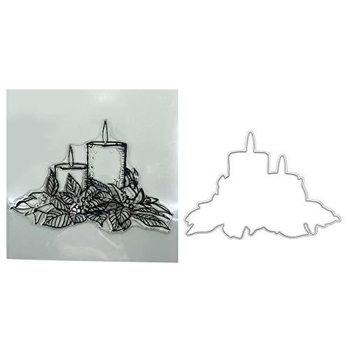 Lyguy Clear Stamp Dies Stencil, Festival kaars Clear Stamps Seal+Cutting Dies Stencil Set DIY Scrapbooking