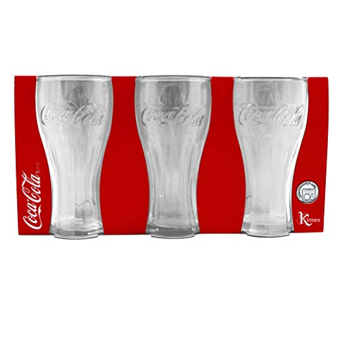 Kemes Juego de 6 vasos de Coca Cola de 300 ml, vasos de cristal de 0,3 litros
