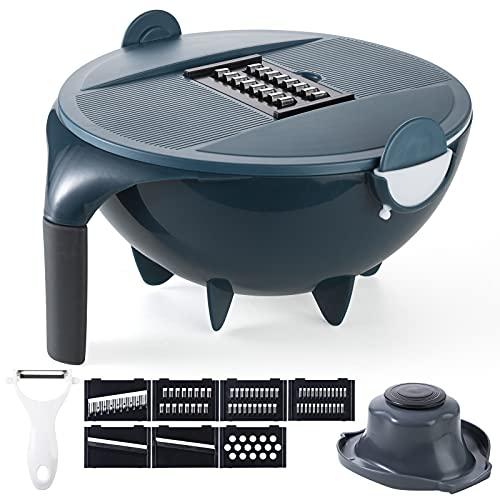 Multi-Purpose Vegetable Slicer Mandoline Slicer Onion Mincer Chopper Drain Basket Vegetable Cutter Handheld Slicer Dicer Cutter Detachable Storage Container with Lid Chopper with 7 Blades (Blue)