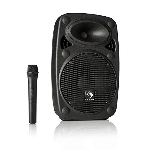 auna Streetstar - Equipo PA portátil, Altavoz DJ, Bluetooth, Puerto USB, SD, MP3, AUX, Batería 3 Ah, Pantalla LED, Micrófono UHF, Mando a Distancia, Subwoofer 8