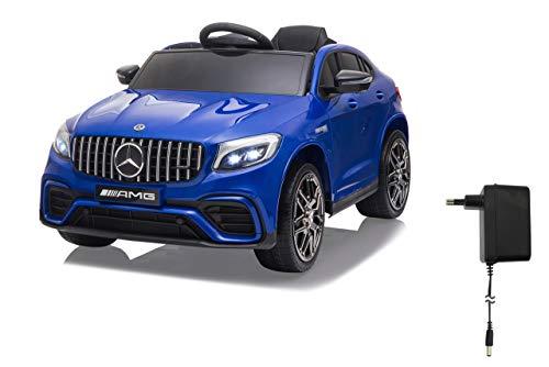 Jamara 460650 Ride on Mercedes-Benz AMG GLC 63 S Coupé 12 V - 4 velocidades USB, 4 Motores de propulsión de Alta Potencia, Eje Trasero con suspensión, indicador de Voltaje de la batería, LED Azul