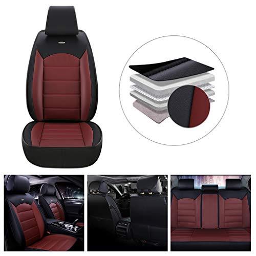 Muchkey 5-Sitze Leder Sitzbezüge-Set für Mazda CX-3 Autositzbezüge Voll Vorderseite und Rückseite Autositze (Farbe:Schwarz&Rot)