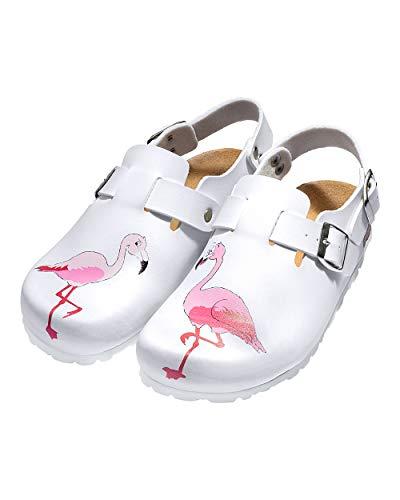 CLINIC DRESS Clog - Clogs Damen bunt weiß Tier Motiv. Schuhe für Krankenschwestern, Ärzte oder Pflegekräfte weiß/bunt, Flamingo 36