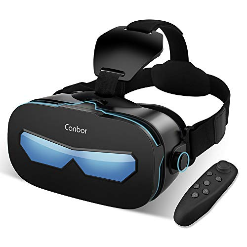 Canbor VR Headset with Remote Controller Virtual Reality Headset VR Goggles for 3D Movies and Games Compatible with 4.0-6.3 Inches for iPhone, Samsung Sony More Smartphones