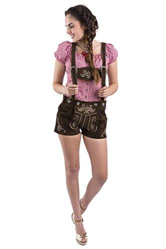 Damen Jugendstil Trachtenlederhose kurz Trachten Oktoberfest Lederhosen Trachtenhose Hotpants Lederhose (32, Dunkelbraun)