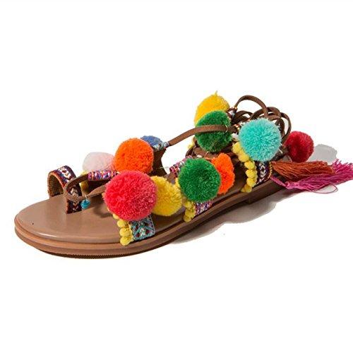 FRALY zomer-stijl Bohemian mok haar bal sandal plat Romeinse schoenen