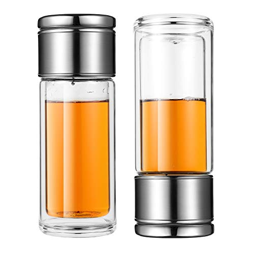 Tea Infuser Bottle Double Walled Glass Tea Tumbler with Filter, 10oz/300ml Leakproof Travel Mug for Men and Women, Easier for Loose Tea