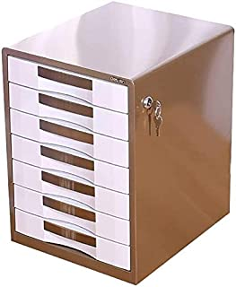Classeurs WHLONG Brown avec Verrouillage Dossier Armoire de Rangement PC de Bureau Papeterie tiroirs d'affaires Panier Boî...