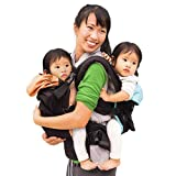 TwinGo Original Baby Carrier (Black, Blue & Orange) - Fully Adjustable Tandem Carrier and Separates into 2 Single Carriers for Men, Woman, Twins and Babies 10-45 lbs