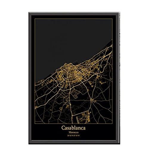 zhuifengshaonian Mapas de luz de la Ciudad Negros y Dorados de Casablanca Marruecos, Carteles de mapas de Ciudades del Mundo, Impresiones en Lienzo, decoración (ZW-1993) Sin Marco Poster 40x60cm