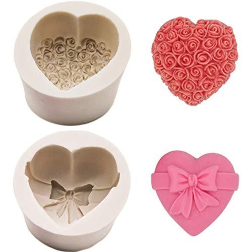 Stampo per Sapone in Silicone Love Cuore Rose Fiore Stampo in Silicone Stampino per Uso Artigianale in Silicone per Cioccolato Biscotti Decorazione Torte per Cucina Domestica Colore Casuale 2 Pezzi