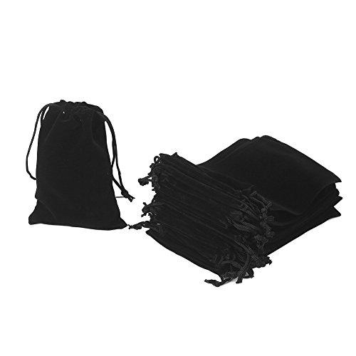 HRX Package 20pcs Velvet Drawstring Bags, 4.7 X 7 inches Velvet Pouches for Jewelry Gift Packaging (Black)