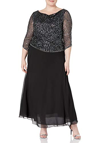 J Kara Women's Plus Size Long Beaded Dress with Cowl Neck, Black/Gun/Mercury, 20W (Apparel)