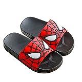 Xyh723 Kinder Spider-Man Flip Flops Strand Pool Hausschuhe Jungen Wasser Sport Badeschuhe Unisex Sommer Outdoor Sandalen Teenager Superhelden Casual Sliders,Black-39/24CM