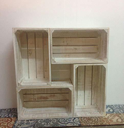 Rebajas oferta Mueble Estanteria compuesta de 4 cajas blanco decapado 80x80x30