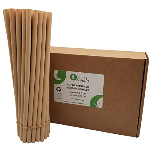 Kilda | Juego de 50 pajitas desechables de fibra de bambú biodegradables y ecológicas, ideales para zumos, cócteles, batidos y cualquier bebida, 23 cm de diámetro, 0,8 cm de diámetro.