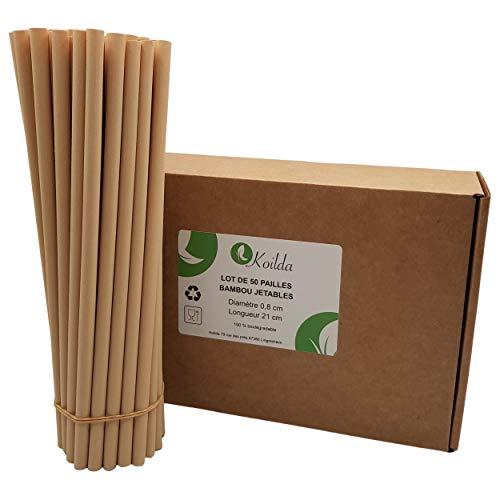 Kilda | Lote de 50 pajitas desechables de fibra de bambú | 23 cm de diámetro 0,8 cm | biodegradables y ecológicas | ideal para zumos de frutas, cócteles, batidos y cualquier bebida.