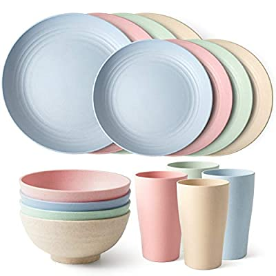 Teivio 16-Piece Kitchen Wheat Straw Dinnerware Set, Dinner Plates, Dessert Plate, Cereal Bowls, Cups, Service for 4, Unbreakable, MultiColor