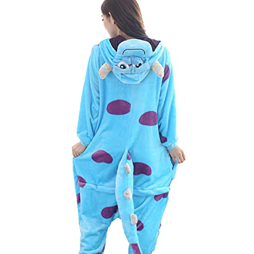 Monstruo Sullivan Kigurumi Pijama Animales Onesie Cosplay Disfraz Adulto Franela Mascota Conjunto parte Invierno Ropa de Dormir Cálida