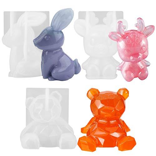 3 pezzi 3D resina animale 3D stampo in silicone per cervo, orso, coniglio in resina resina epossidica per candele, sapone, decorazioni