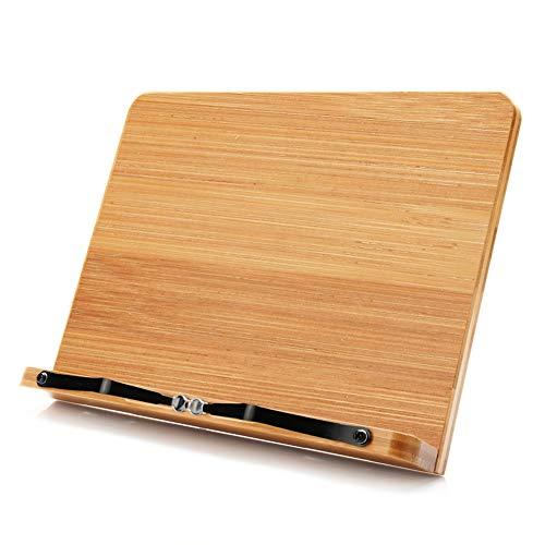 ブックスタンド,wishacc 書見台 筆記台 本立て 5段階調整 全面竹製使用した