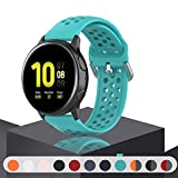 Geageaus Replacement Band for Samsung Galaxy Watch Active 2 40mm/ 44mm,20mm Silicone Quick Release Sport Strap Breathable Wristband for Galaxy Watch 42mm/Gear S2/Gear Sport (Teal, 20mm)