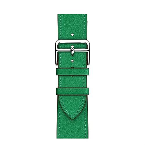 TRSX Correa de Reloj Correa de Cuero Adecuada para38mm 42mm 40mm 44mm 123456 SE (Band Color : Bamboo Cyan, Size : 44mm or 456SE)