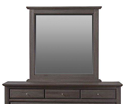 Modus Furniture City II Beveled Glass Mirror, Basalt Grey