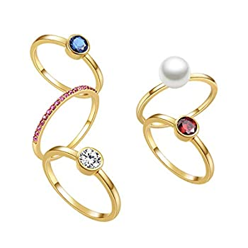 E 18K Yellow Gold Plated Shell Pearl Rings for Women Womens Stackable Birthstone Ring Set Fashion Statement Band Finger Rings for Teen Girls with CZ Gemstones  8 natural shell pearl
