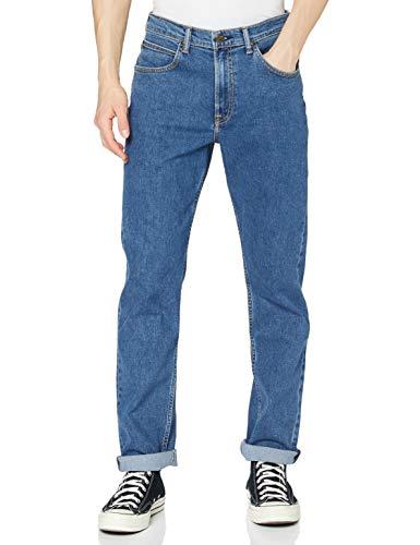 Lee Brooklyn Straight Jeans, Azul (Mid Stonewash), 36W / 32L para Hombre