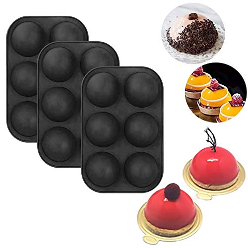 3 PCS Semi Sphere Silicone Chocolate Mold with 6-Cavity, Baking Mold for Making Hot Chocolate Bomb, Cake, Jelly, Dome Mousse
