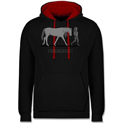 Shirtracer Reitsport - Führungskraft - L - Schwarz/Rot - Hoodie Pferd - JH003 - Hoodie zweifarbig und Kapuzenpullover für Herren und Damen