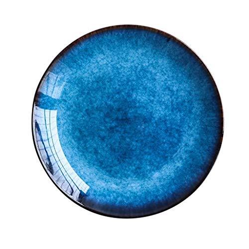 XXJ-Tazones Plato de la vajilla Plato de cerámica Color Creativo Plato de bistec Plato de Comida Plato Plato Plato de Ensalada Plato de bistec (Color : A)