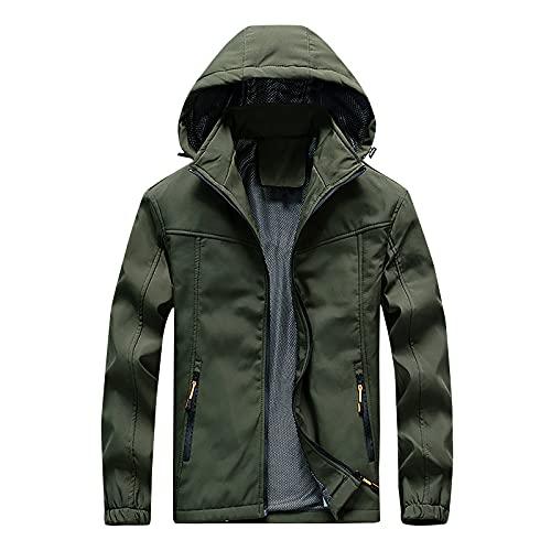 Chaqueta de lluvia ligera impermeable con capucha para hombre, impermeable para exteriores, para senderismo, viajes, verde, XXL