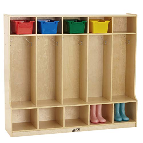 ECR4Kids Birch 5-Section School Coat Locker with Bench and Cubbies, Backpack and Cubby Storage Organizer with Hooks, Hardwood Locker for Daycares, Classrooms, Mudrooms and Homes