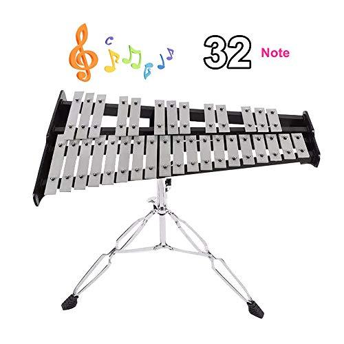ZXIAQI Hölzern 32 Töne Xylophon, Faltbar Percussion Glockenspiel, mit Verstellbarem Ständer, 2 Kunststoffschlägel, Tragetasche