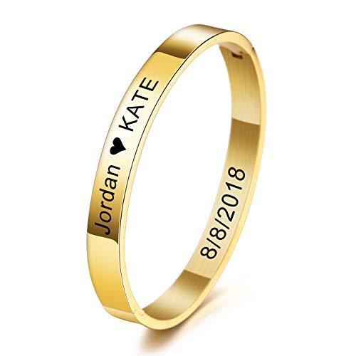 MeMeDIY Personalisierte Armband Gravur Name Identifizierung ID Angepasst für Frauen Mädchen Edelstahl Stulpearmband (Große Größen, Gold Farbe)