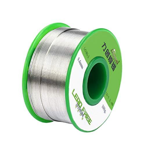 Estaño para Soldar 0.6mm Hilo de Soldadura Electronica Sin Plomo con Núcleo de Resina Sn99-0.7Cu Hilo de Estaño para Solderding y Bricolaje 100g