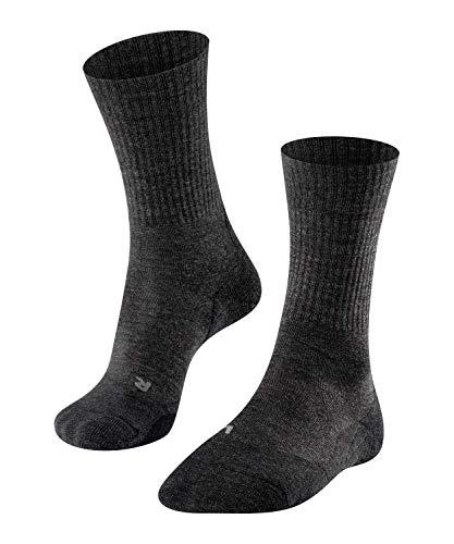 FALKE Damen Wandersocken TK2 Wool, halbhohe Kniestrümpfe zum Wandern mit Merinowolle, Socken für Outdoor Sport, Walking, Bergsteigen, 1 Paar, Grau (Smog 3150), Größe: 41-42