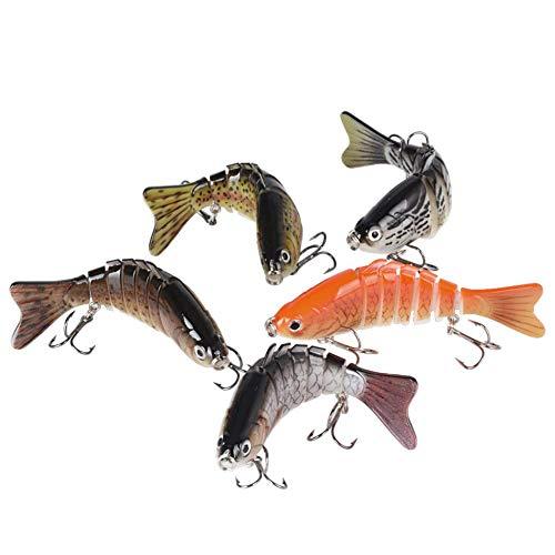 BUONDAC 5 Pcs 10cm Leurres de Pêche Bait Artificiel Multi-articulés 7 Segments Life-Like pour la Truite Basse Perche Pêche Attaches d'eau Leurre Articulé Douce et d'eau Salée (10cm, 16g)