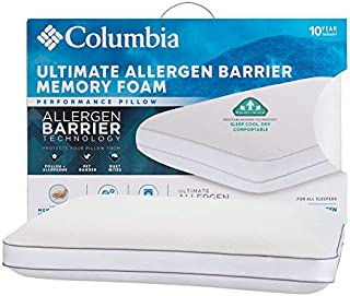 Columbia Ultimate Allergen Barrier Hypoallergenic Memory Foam Pillow – Standard/Queen - Blocks Dust Mites, Pet Dander, Pollen and Allergens – Knit Cover with Zipper Closure - For All Sleep Types