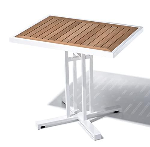 tavolo rettangolare da giardino e da esterno, alluminio e teak - cm 80x60 h 72