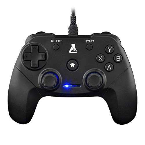 THE G-LAB K-Pad Thorium - Gaming-Controller PC & PS3 USB mit integrierter Vibration, Gamepad-Game-Controller-Kabel verbunden - Joystick für PC Windows XP-7-8-10, PS3, Android (Schwarz) (Mit Kabel)