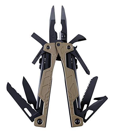 LEATHERMAN - OHT Multi-Tool, Einhändige Bedienbarkeit, mit 16 praktischen Werkzeugen, Braun Coyote mit MOLLE Holster Schwarz