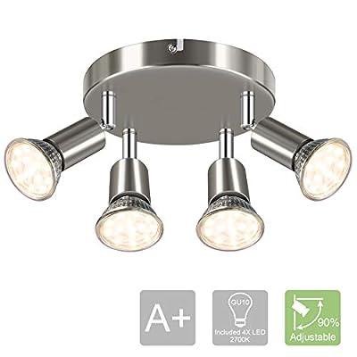 LANGREE Round 4-Light Track Lighting Fixtures, 4 Way Ceiling Spotlight, ø180mm (Including 4x4w GU10 LED Light Bulbs, 4W, 400LM, 2700K Soft White) LED Ceiling Light Rotatable, Matte Nickel