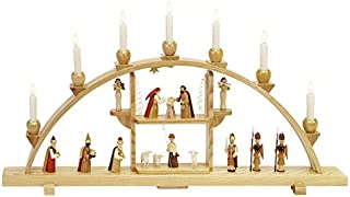 Richard Glässer Seiffen German Candle Arch Nativity Scene, Length 75 cm / 30 inch, Natural, electrically Illuminated, Orig...