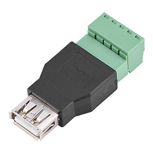 1 conector USB 2.0 tipo A hembra a tornillo de 5 pines con conector adaptador de enchufe de terminal de blindaje