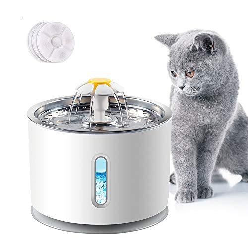 ERWEY 2.4L Katzen Trinkbrunnen Wasserbrunnen, Edelstahl Blumentrinkbrunnen für Katzen und Hund mit Fenster, Wasserspender mit LED-Licht und 3 Aktivkohlefilter